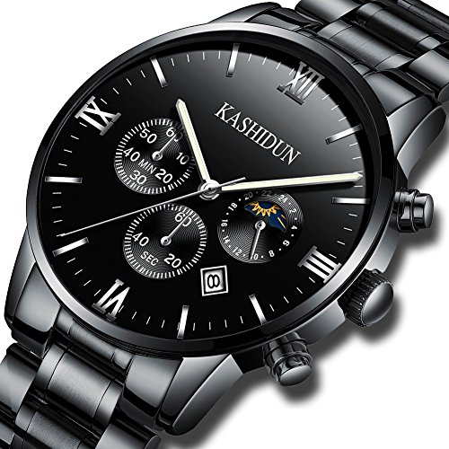 KASHIDUN Men's Watches Luxury Sports Casual Quartz Wristwatches Waterproof Chronograph Calendar Date Black Color (Chronograph Water Resistant Wrist Watch)
