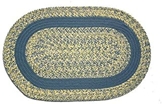 product image for Oval Braided Rug (5'x7'): Williamsburg Blue, Yellow & Cream - Williamsburg Blue Band