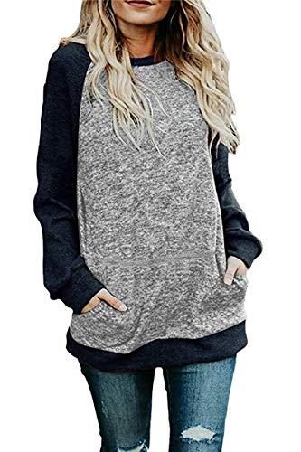 CHYRII Ladies Knit Long Tunic Tops Raglan Long Sleeve Oversized Sweatshirts with Pockets Grey + Navy M ()