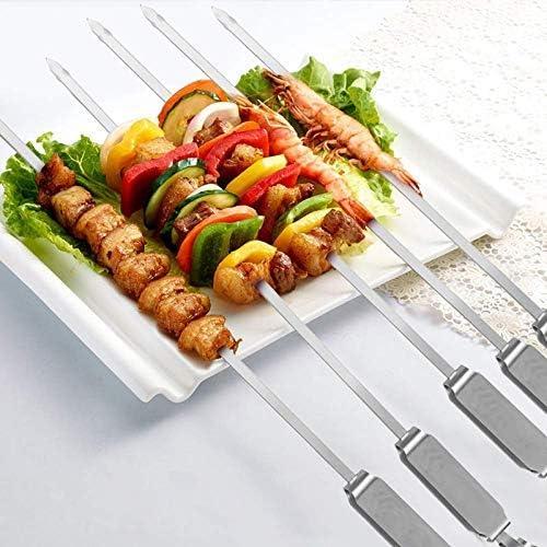 Broches à Griller en Acier Inoxydable avec poignée coulissante en métal à dégagement Rapide Bâtons de Barbecue réutilisables pour la Viande et Les légumes, Outil de Barbecue