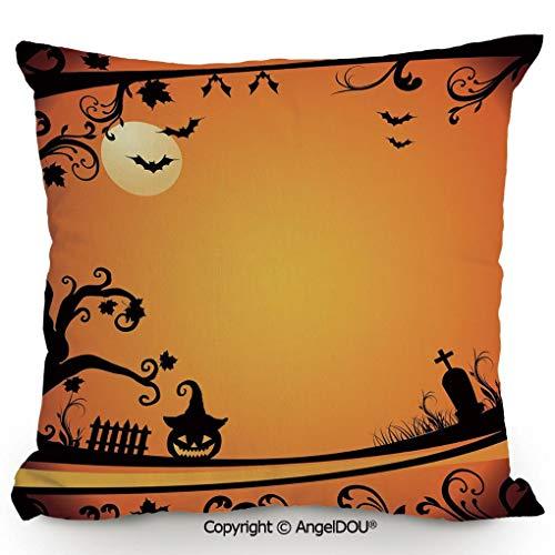 (AngelDOU Living Room Pillow Pillowcase Customization 15.7x15.7 Inch Halloween Themed Image Eerie Atmosphere Gravestone Evil Pumpkin Moon Decorative for Hotel Bar Cafe Living Room Sofa Office.)