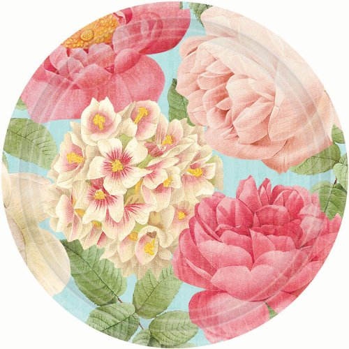 Blissful Blooms Dessert Paper Plates Floral Garden Party Disposable Tableware, Round, 7