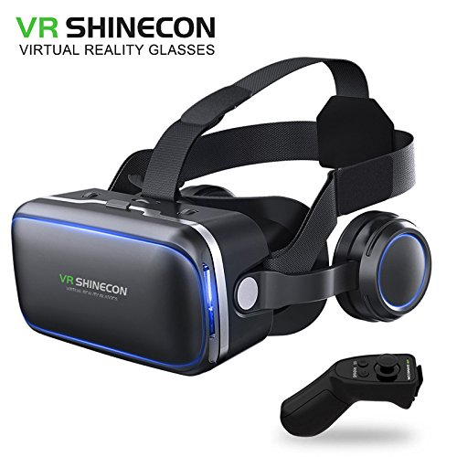 VR SHINECON 6.0 VR headset version virtual reality glasses Stereo headphones 3D glasses headset helmets Support 4.7-6.0 inch large screen smartphone (With controller SC-RA8)