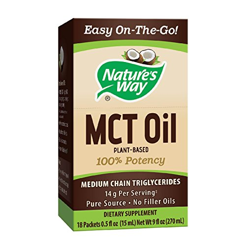 Nature's Way 100% Potency Pure Source MCT Oil from Coconut- On-The-Go Single-Serve Packets- Vegetarian, Gluten-Free, Flavorless, No Filler Oils, Hexane-Free- 18 Count For Sale