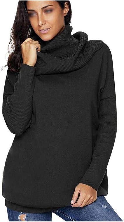 Jersey Cuello Alto Mujer Primavera Camisa Mujer Raya Cuello ...