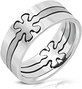 Stainless Steel Matte & Polish Finished Cut-out Flower Flat Band Ring