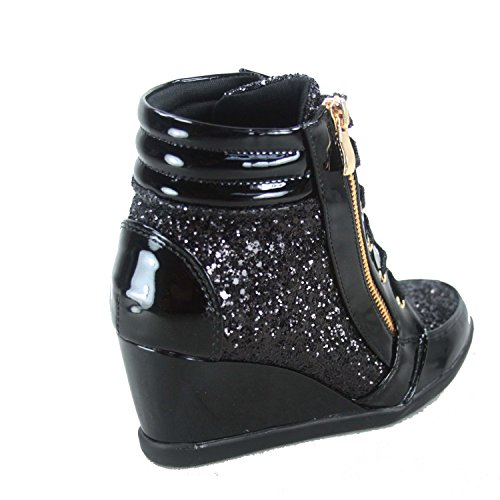 Forever-Link-Womens-Fashion-Glitter-High-Top-Lace-Up-Wedge-Sneaker-Shoes