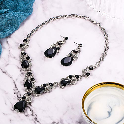 BriLove Women's Wedding Bridal Crystal Multi Teardrop Cluster Statement Necklace Dangle Earrings Set 3