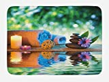 Lunarable Spa Bath Mat, Asian Culture Inspiration Chinese Japanese Candles Zen Meditation Stones, Plush Bathroom Decor Mat with Non Slip Backing, 29.5 W X 17.5 W Inches, Green Orange Lavander