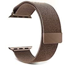 Apple Watch Band Series 1 Series 2, with Unique Magnet Lock, MoKo Milanese Loop Stainless Steel Bracelet Smart Watch Strap for iWatch 42mm All Models, No Buckle Needed - COFFEE (Not Fit iWatch 38mm)