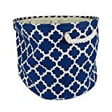 "DII Collapsible Polyester Storage Basket or Bin with Durable Cotton Handles, Home Organizer Solution for Office, Bedroom, Closet, Toys, & Laundry (Small Round – 9x12""), Navy Lattice"