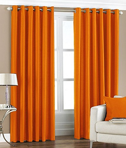 Pair Of Plain BRIGHT ORANGE Eyelet Ring Top BLACKOUT DIMOUT Curtains 53quot Wide X