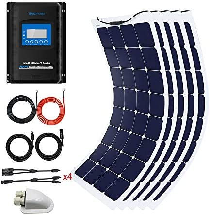 ACOPOWER 550Watts Flexible Solar RV Kit w 40A MPPT Charge Controller, Solar Cable Wire,Tray Cable and Y Branch Connectors,Cable Entry Housing for Marine, RV, Boat, Caravan