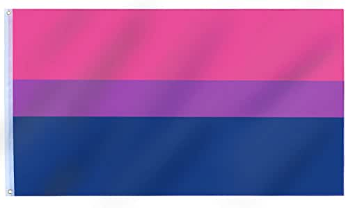 TRIXES Bisexual Flag – Large Size for Indoors and Outdoors – Celebrate Diversity at Bi Pride and Festivals Summer Parties – Pink Purple Blue – 5ft x 3ft