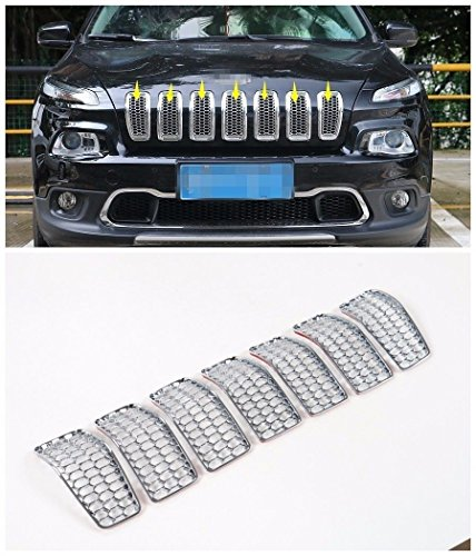 Pulidi Chrome Front Grille Inserts Mesh Grill Accessories For Jeep Cherokee 2014 2015 2016 ABS Shiny Silver 7pcs ()