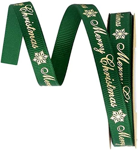 包装 金メッキ ギフト ラッピング 装飾 10ヤード 緑 リボン クリスマス 手芸 DIY 花束 (緑)