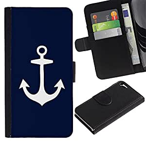 iKiki Tech / Cartera Funda Carcasa - Blue Anchor Seaman Sailor Minimalist - Apple iPhone 5 / 5S