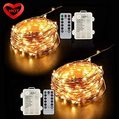 Ylife Light Battery Operated, 16.4Ft 50 LED Waterproof Warm White String Lights, Decorative Copper Wire Mini Lights for Festival Party (Warm White)