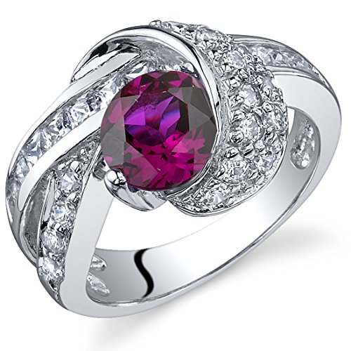 Mystic Divinity 1.75 carats Created Ruby Ring in Sterling Silver Rhodium Nickel Finish Sizes 5 to 9
