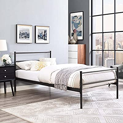 "Modway Alina Platform Stainless Steel Metal Twin Size Bed Frame With Headboard in Brown - Rustic Cottage Metal Platform Bed; Maximum weight capacity 1323 lbs.; Box_2_Height 78; Box_2_Width 6; Box_2_Length 4; Box_2_Weight 10; Box_1_Height 46; Box_1_Width 39; Box_1_Length 4; Box_1_Weight 21; Total Shipping Weight 31; Product Weight 24; Assembly Required Y; Product Dimensions Overall Product Dimensions: 41.5""L x 79""W x 34.5""H Powder Coated Sturdy Steel Frame Integrated Headboard / Footboard - bedroom-furniture, bed-frames, bedroom - 51y0Oex6ovL. SS400  -"