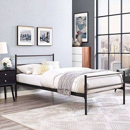 51y0Oex6ovL - Modway MOD-5551-WHI-SET Alina Platform Bed Frame, Twin, White