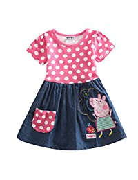 Peppa Pig Little Girls Short Sleeve Stitching Cotton Princess Dress 1-6Y
