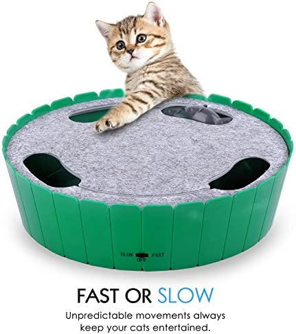 Pawaboo Cat Toy with Running Mouse, Electric Interactive Motion Cat Toy Automatic Rotating Teaser Pop and Play Hide and Seek Hunt Toy for Pet Cat Kitten Play Fun Excercise 4