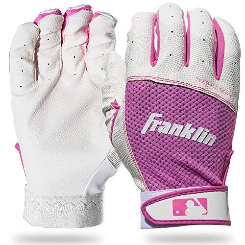 Franklin Sports Youth Teeball Batting Gloves - Youth Flex - Kids Batting Gloves for Teeball, Baseball, Softball - Pink/White -  Small