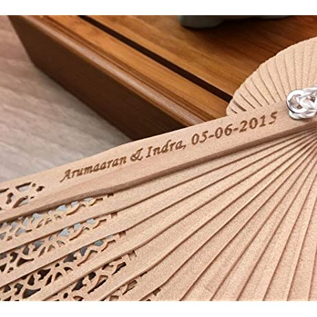 Engraving 100 Pcs Lot Personalized Customized Folding Hollow Carved Hand Fan With For Gift Bag For Wedding