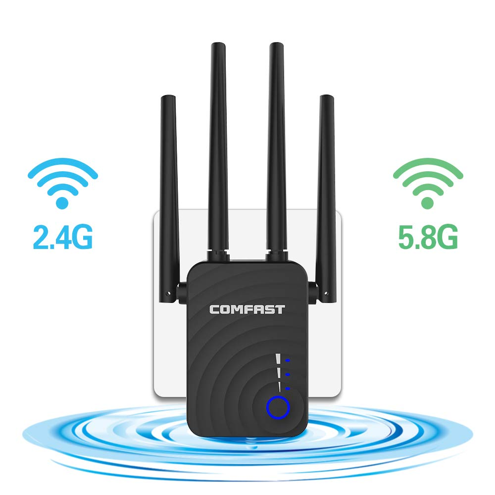GAOAG WiFi Range Extender, 1200Mbps Dual Band 2.4GHz/5.8GHz WiFi Repeater, WiFi Signal Booster with 4 Antennas and WPS Function, Wireless Network Extender Supports Repeater/Access Point/Router Mode