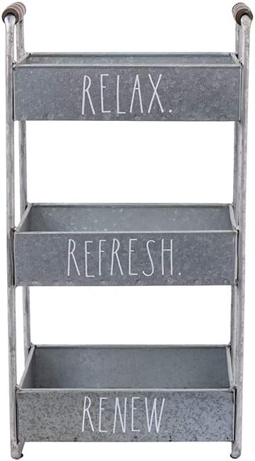 Rae Dunn 3 Tier Desk Organizer – Galvanized Steel Caddy with Wood Accents, Tabletop or Floor Standing Design – Chic and Stylish Metal Storage Bin for Office, Home or Kitchen