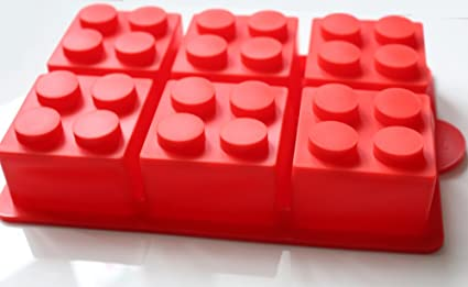 morethanart XXL - lego estilo cubitos grande de hielo molde para torta rojo para fiesta de