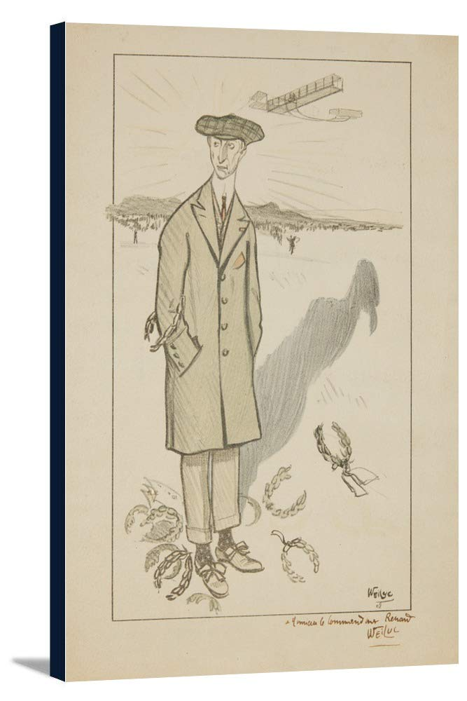 Wilbur Wight (図面鉛筆)ヴィンテージポスター(アーティスト: Weiluc )フランスC。1909 24 x 36 Gallery Canvas LANT-3P-SC-63288-24x36 B0184BB0ZA  24 x 36 Gallery Canvas
