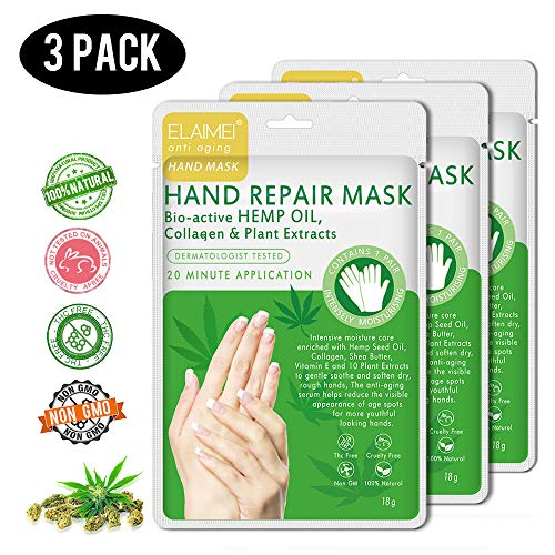 Hemp Hand Mask 3 Pack,Hand Mask Spa Gloves Repair Rough Skinfor Dry Hands,Moisturizing Hand Gloves to Replenish Dry Dull Skin for Women Men (hand mask)