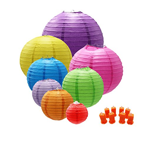 THREEMAO Chinese Round Paper Lanterns Lamp with LED Lights Decorative for Birthday,Wedding,Ceiling Party Supplies,Red/Blue/Pink/Orange/Green/Gold Yellow/Rosy/Lilac Colors and Assorted Sizes,8 Pack
