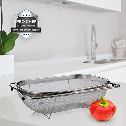 Large Product Image of Pro Chef Kitchen Tools Stainless Steel Over the Sink Strainer - 6 Quart Fine Mesh Sieve Metal Colander Extendable Collapsible Handles Expands Over All Sinks for Washing Vegetables or Draining Pasta