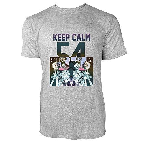 SINUS ART® Palmen mit buntem Hintergrund – Keep Calm Herren T-Shirts in hellgrau Fun Shirt mit tollen Aufdruck