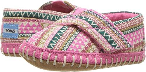 TOMS Kids Baby Girl's Crib Alpargata (Infant/Toddler) Bubblegum Pink Mud Hut 4 Toddler - 4 Hut