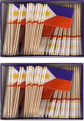 Philippines Pick (2 Boxes of Mini Philippines Toothpick Flags, 200 Small Filipino Flag Toothpicks or Cocktail Sticks & Picks)