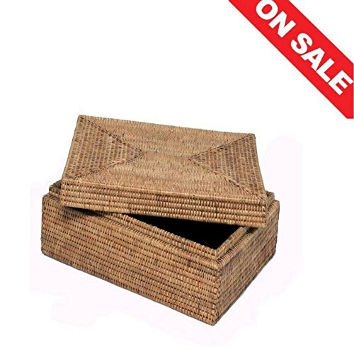 File Box Organizer Rattan Mini Office Filing Cabinet Business Card Legal File Holder for Desk Organizer Lid Office Home Store Furniture & Ebook By (Rattan File Cabinet)