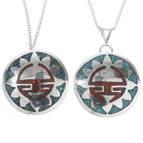 - Inlaid Silver Sunface Turquoise Coral Pendant With Chain 0067