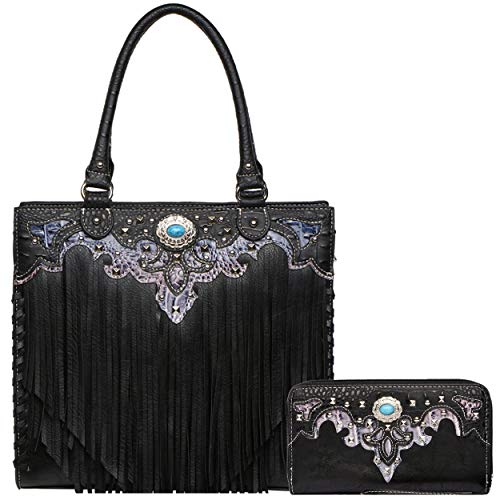 - Western Style Cowgirl Fringe Concealed Purse Conchos Totes Country Women Handbag Shoulder Bags Wallet Set (3 Black Set)