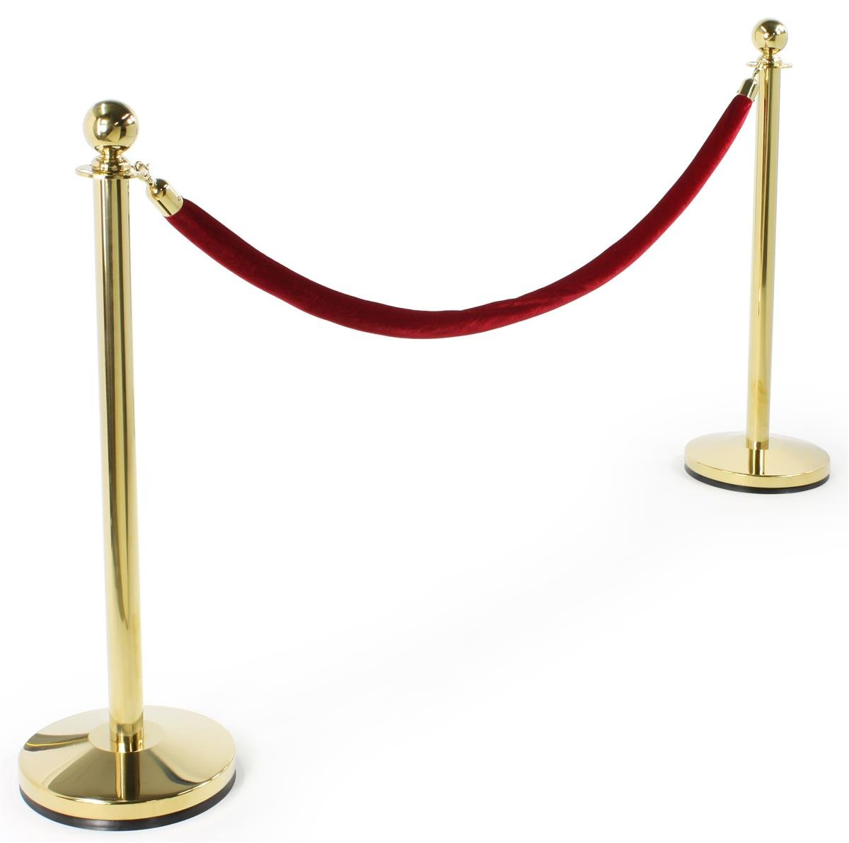 Set of Two Round Top Polished Brass Stanchion Posts with 6.5 Foot Red Burgundy Velvet Rope