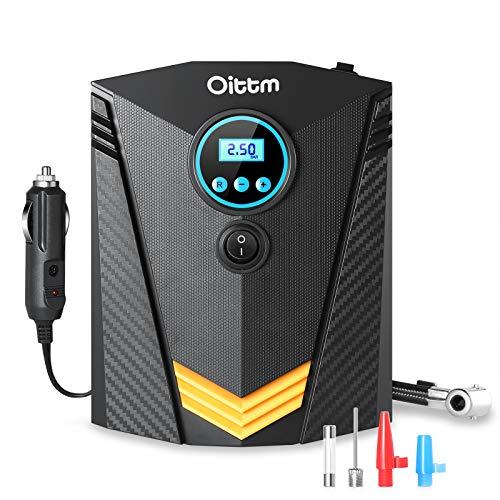 Oittm Digital Tire Inflator, DC12V 10A, Portable Air Compressor with LED Light, Quick Connect Tire Pump, Auto Shutoff, Fast Inflating, KPS/BAR/PSI/KGF (Black)