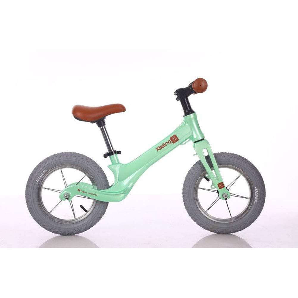 1-1 Wettbewerb Balance Fahrrad Kinder, Magnesiumlegierung Pannensichere Gummireifen Ultraleicht sicher Grün