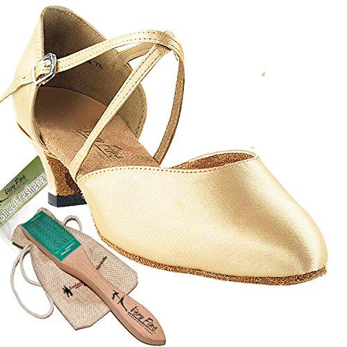 Women's Ballroom Dance Shoes Salsa Latin Practice Dance Shoes Light Brown Satin 9691EB Comfortable - Very Fine 1.3