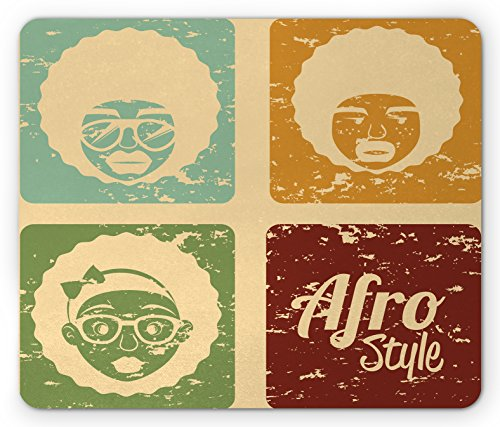 Dance Arrangements - Lunarable Afro Mouse Pad, Pop Art Style Disco Themed Arrangement Retro Dance Fever African American Culture, Standard Size Rectangle Non-Slip Rubber Mousepad, Multicolor