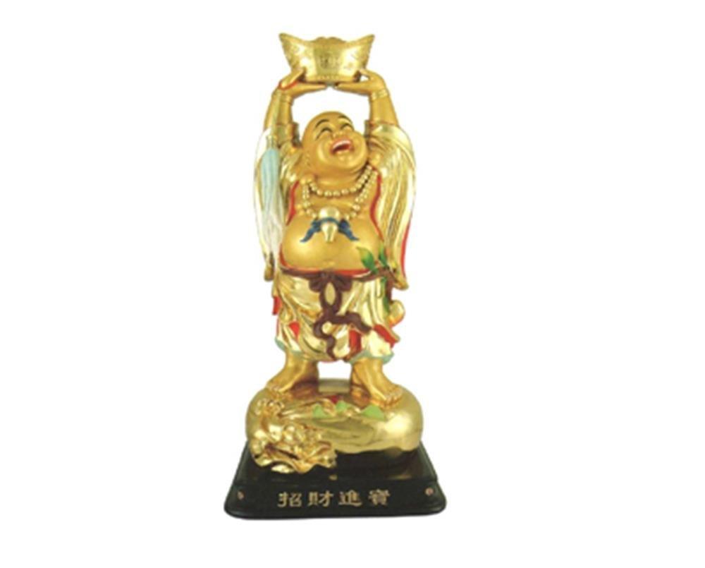 StealStreet SS-MU-CES17862B 28' Gold Color Buddha Holding Yuan Bao Figurine Mandarin