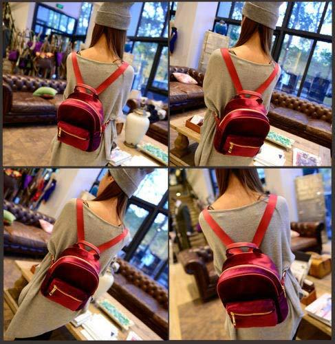 FidgetGear Women Suede Backpack Zipper Handbag Mini Satchel Vintage Xmas Series School Bag