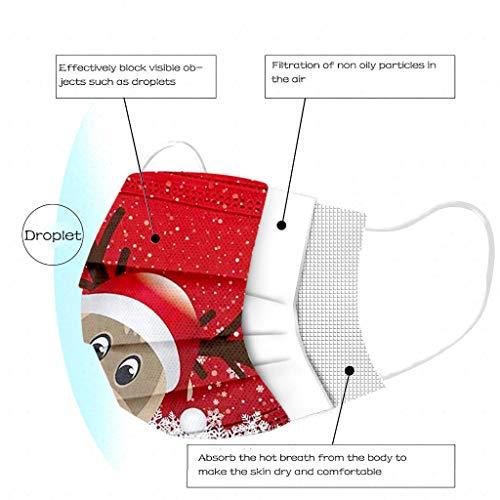 Qiamay 50 Stück Erwachsene Einweg Mundschutz,3 lagig Mund und Nasenschutz, Weihnachtendas Elch Staubmaske,Atmungsaktiv Mundschutz,Mund-Nasen Bedeckung Halstuch Schals für Erwachsene (Rot -50 Stück)